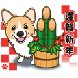 Welsh Corgi's winter sticker. Vol.2