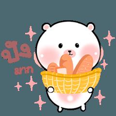 Little bear, fat likes to eat bread
