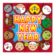 New Year's greetings stickers