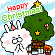 Christmas Sticker-Boa Rabbit