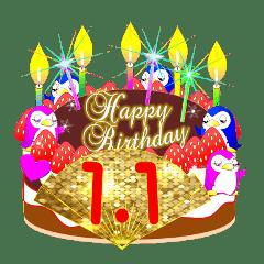 January Birthday Cake Sticker 001 Line Stickers Line Store