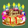 1月の誕生日♥日付入り♥ケーキでお祝い♪