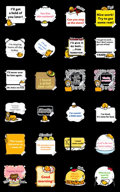 gudetama Speech Balloon Stickers