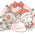 Christmas sticker of bear,cat and wolf.