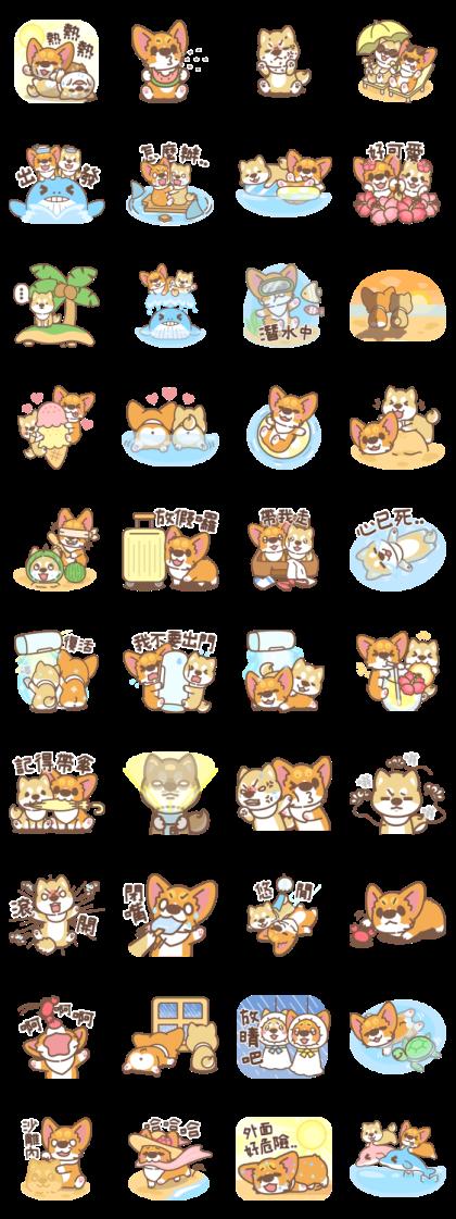 Corgi PonPon & ChaiChai Summer Stickers