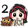 Wearing a headset girl and owl 2