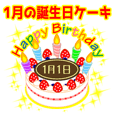 birthday sticker / 1 / January