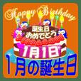 January birthday cake Sticker-002