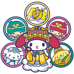 Sanrio Characters dressed as lovely gods