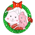 Christmas rabbit and Meng Meng pig