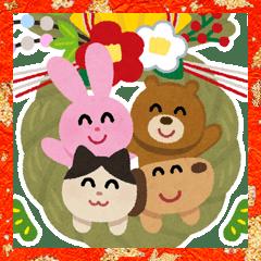 Irasutoya Big New Year's Stickers