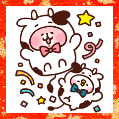 Piske & Usagi New Year's Big Stickers