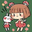 Mushroom Girl & Rabbit
