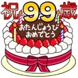 Birthday cake sticker 67-99