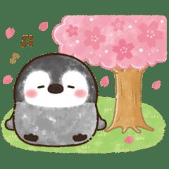 粉彩企鵝的春日光景