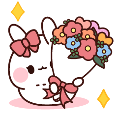 สติ๊กเกอร์ไลน์ Pink Ribbon Rabbit to Convey a Feeling