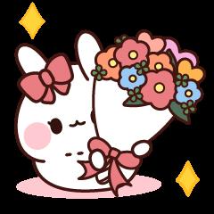 粉紅緞帶兔 傳達心意