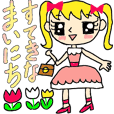 The sticker of Kawaii girl