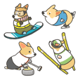 1 corgi winter sports sticker -English-