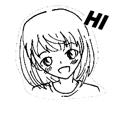 Simple Sketch Girl Line Stickers Line Store