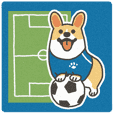 Soccer cheering dog from 1Corgi