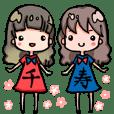 金元寿子と川上千尋のテラ娘屋スタンプ