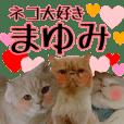 『ネコ写真』名前スタンプ【まゆみ】