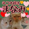『ネコ写真』名前スタンプ【まなみ】