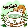 Sticker of healing of adult. English