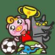 賤豬三兄弟為足球加油-紅色球衣篇