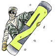 Snowboarder' sticker 2
