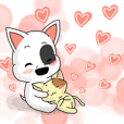 小囧犬(牛頭梗)與奶黃喵的甜蜜小互動01
