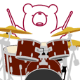 The bear. He plays a Drum set.