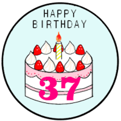 Groovy 1 Year Old 37 Year Old Birthday Cake Line Stickers Line Store Funny Birthday Cards Online Aeocydamsfinfo