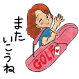 golf stamp watercolor touch girls