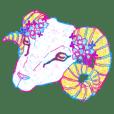 アルビノ動物と白い動物スタンプ