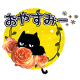 Black cat and rose flowers.