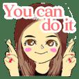 Cute female sticker in English