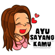 Ayu the Beautiful Girl (Name Sticker)