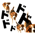 jumping beagle sango sticker