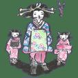 日本のお化けと気弱なサムライのスタンプ