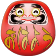 Animated funny Daruma with large message