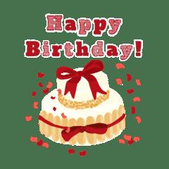 Pleasant Happy Birthday Cake 2 Line Stickers Line Store Personalised Birthday Cards Veneteletsinfo