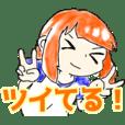 orange hair sticker