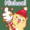 """Michael 冬季限定""扭扭貓姓名貼Q"