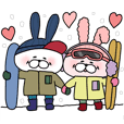 Happy to kiss! Lover rabbits7 -winter-