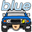 Nobu's blue off-road vehicle