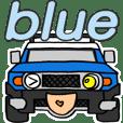 ノブの青色のオフロード車