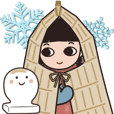 Winter Stickers with snow girl