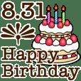 8/1-31 happy birthday Large Text